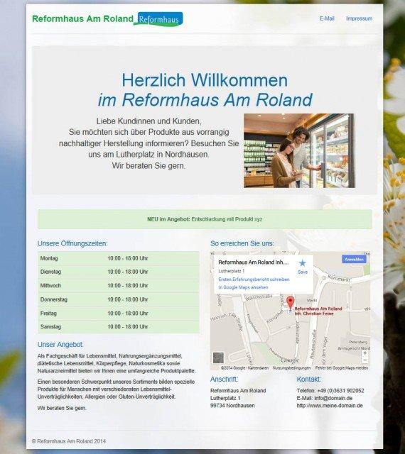 Beispiel einer Webvisitenkarte für den Einzelhandel