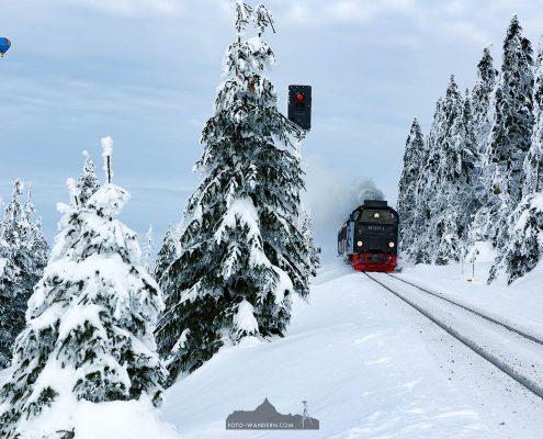 Landschaftsfotografie und Brockenbahn - Winter auf dem Brocken im Harz
